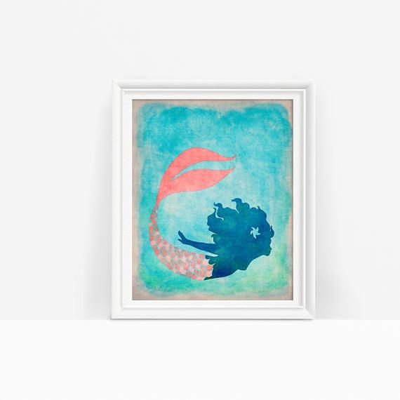 This printable mermaid with a whimsical coral tail is a lovely touch for any marine or under the sea decor! Just download, print, and hang #mermaidart #underthesea #mermaidtail
