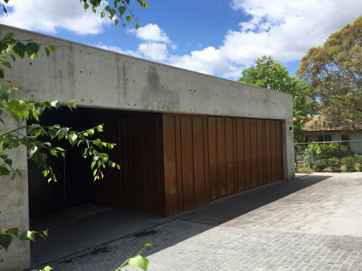 Concrete & corten entry and garage