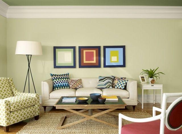 Decke Tapeten Tapezieren : Modern Tapezieren : Wohnzimmer modern gr?n hell Decke dunkle Farbe