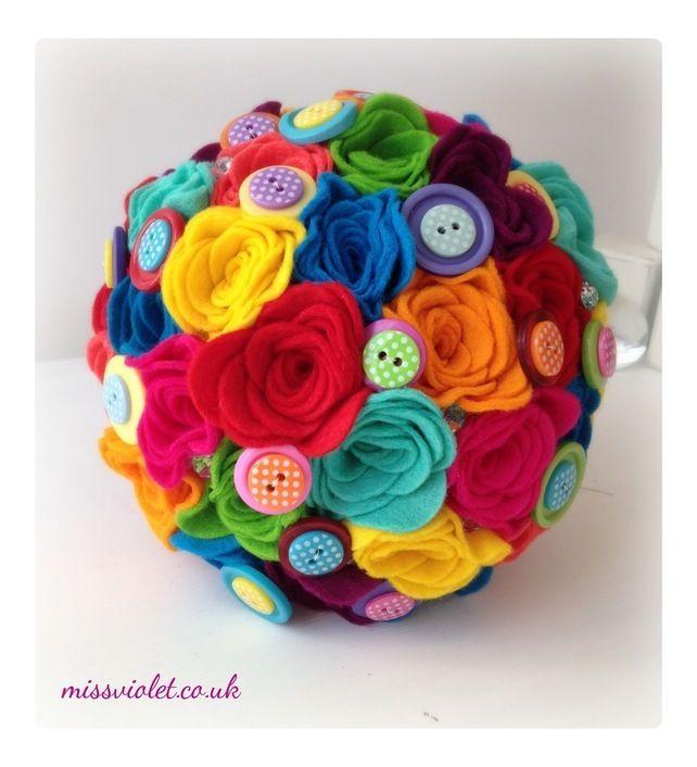 Handmade rainbow felt flower bouquet with button detailing £75.00