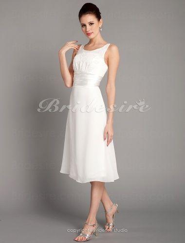 Sheath/ Column Chiffon Tea-length Scoop Wedding Dress - $88.99