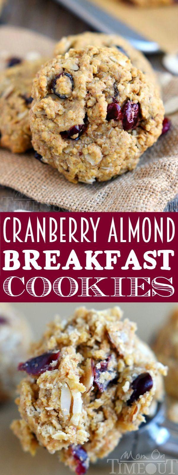 Diese Cranberry Almond Breakfast Cookies sind das perfekte Frühstück zum Mitnehmen für ...