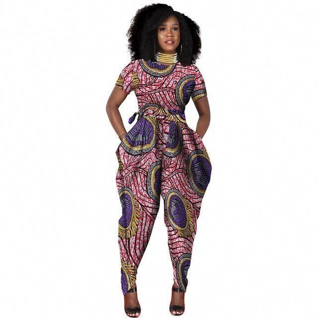 901d3ff6d97 African Women Romper Jumpsuit Pants Dashiki Cotton Wax Print Clothing