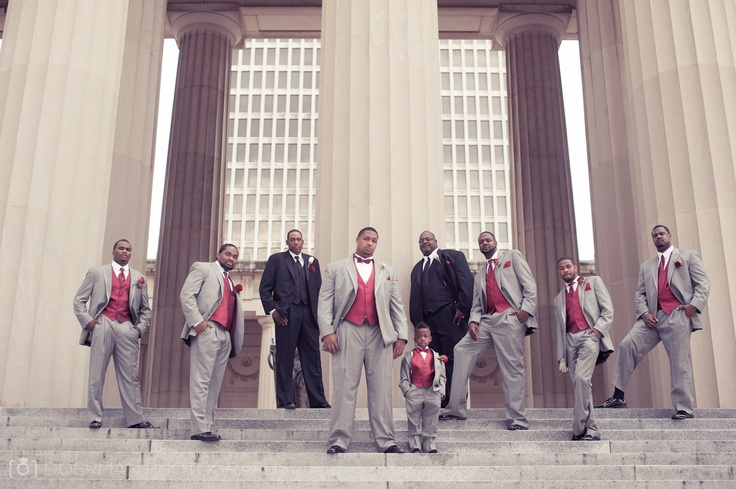 Summer Wedding Gray Suits And Red Vests