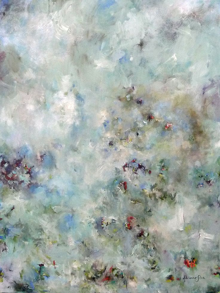 I've Looked At Clouds From Both Sides Now by fine artist Adrienne Silva. This glorious abstract painting constantly changes with the light.