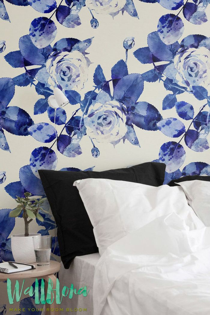 Watercolour Rose Silhouettes Wallpaper | Self Adhesive Removable Wallpaper | Wall Decor | 230
