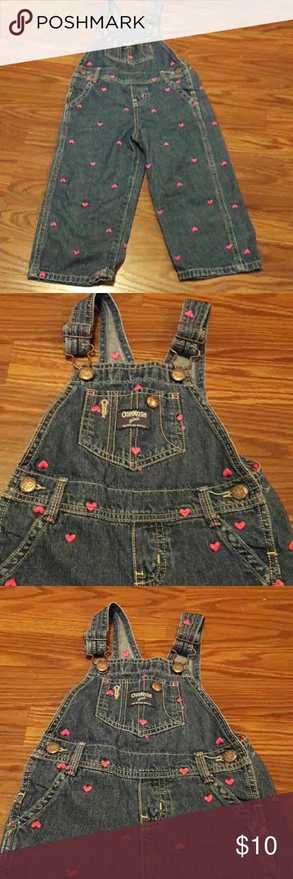 Cute OshKosh Jean Jumper *** EUC *** Beautiful heart trim. 100 % cotton. One Pieces