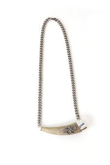 Large Antler on Chain with Diamond Snake Necklace