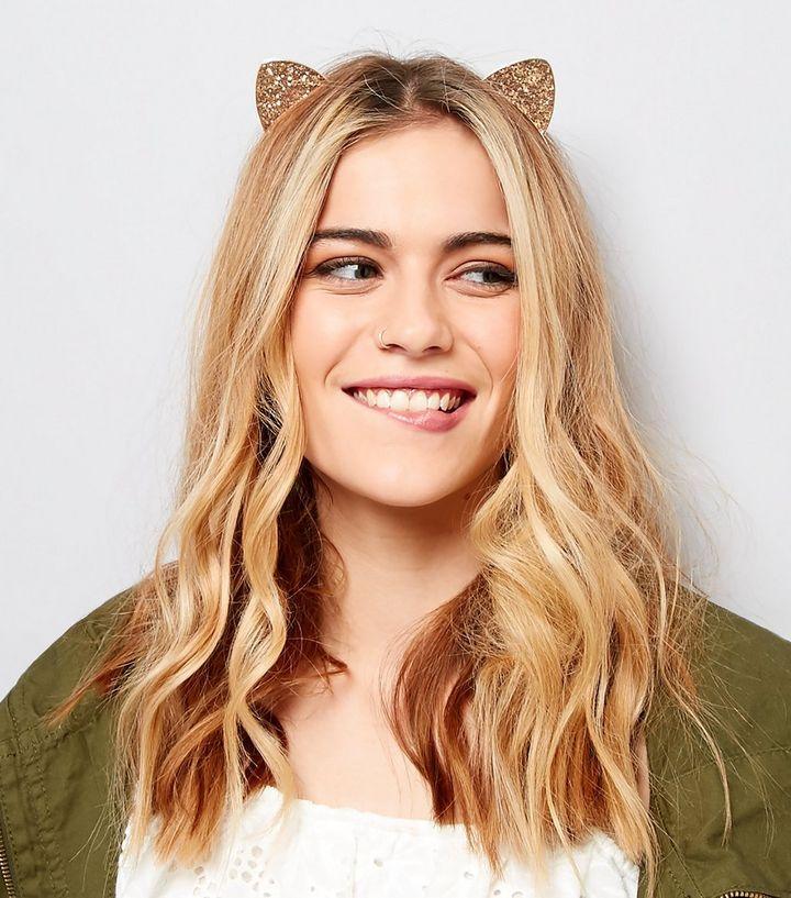 Haarreif mit glitzernden Katzenohren in Roségold   New Look