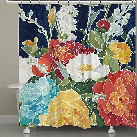 The Midnight Floral Shower Curtain From Laural Home