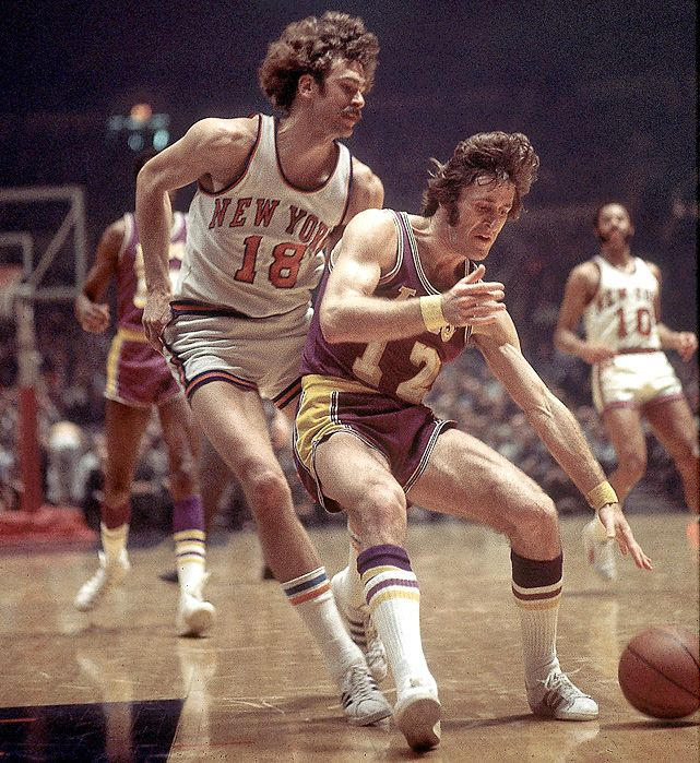 Pat Riley backs down Phil Jackson during a 1972 game between the Lakers and Knicks.