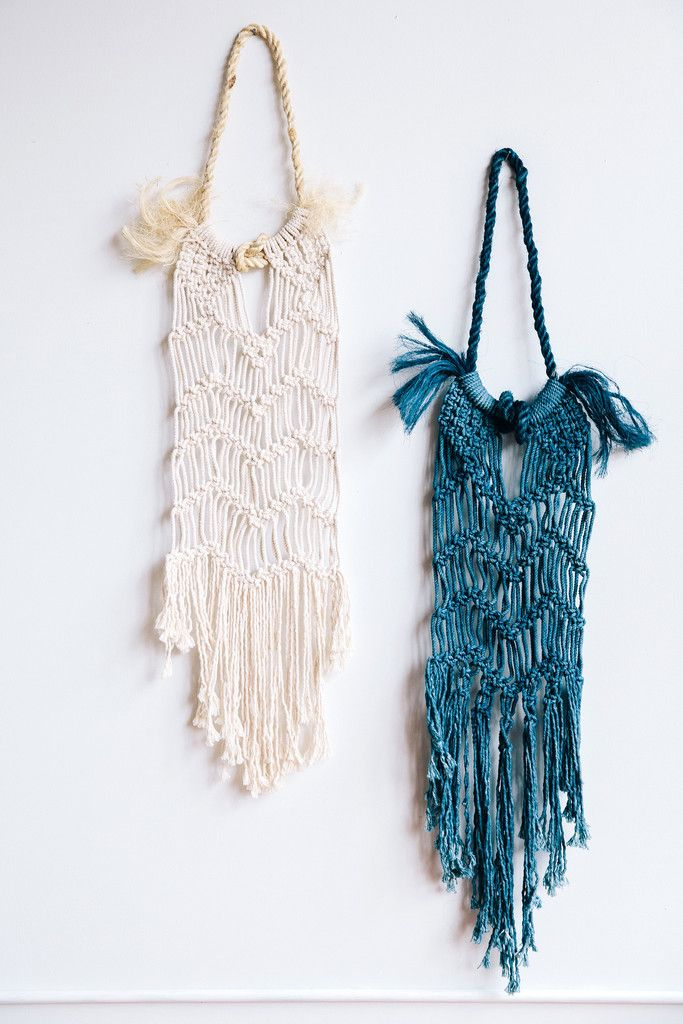 Modern Macrame Rope Beach Dress Wall Hangings Natural and Indigo Dyed