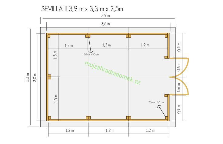 Zahradní domky do plochy 12m2   Zahradní dřevěný domek 3,3x3,9m (19mm) s okny SEVILLA II   Nejlevnější zahradní domky a chatky, nářaďové, dřevěné, pro děti, pro zvířata, prodejní stánky, garáže