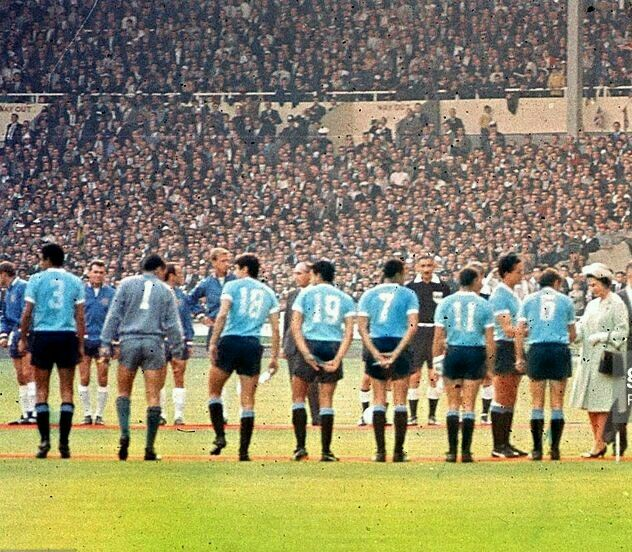 England 0 Uruguay 0 in 1966 at Wembley. The Queen meets the players at the Group 1 game at the World Cup Finals.
