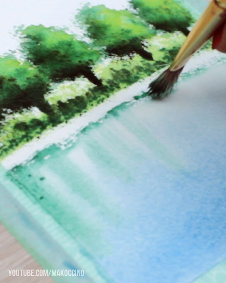 Water reflections with Watercolor Paint