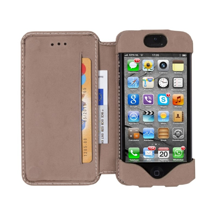 Hunter, 'open' leather wallet for iPhone 5 by dbramante1928. Price: $50. More information: www.dbramante1928.com.