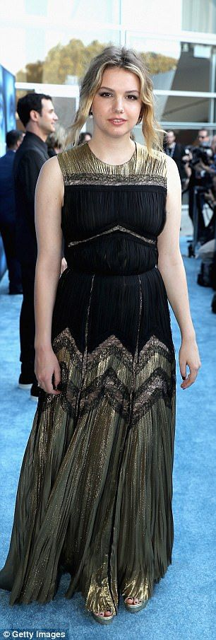 Beauty: His on-screen girlfriend Gilly AKA Hannah Murray, who rocked a shimmering black and gold gown