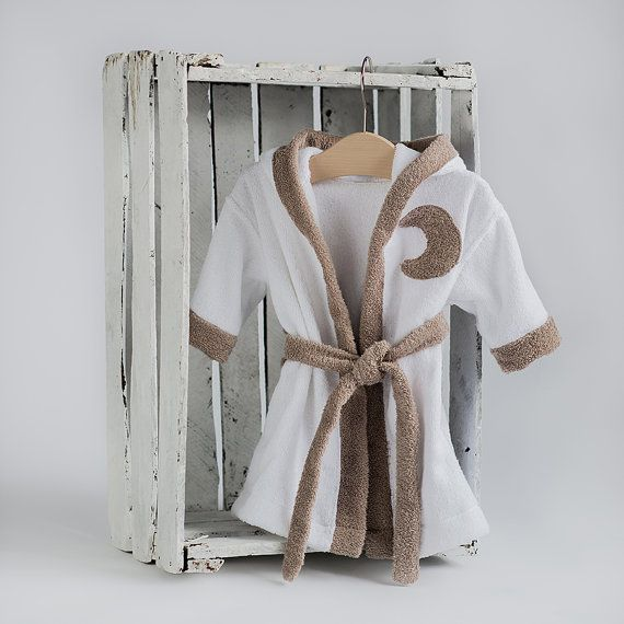 Kids robes Moon tan brown white  Lounge robe Toddler by CotandCot