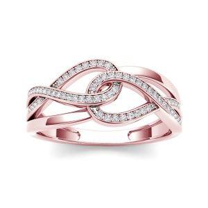 0.15 Carat T.D.W Diamond Infinity Braid Fashion Knuckle / Midi Ring in 10k Rose Gold