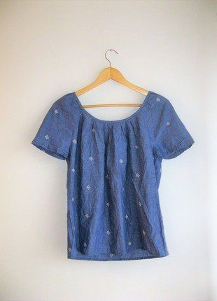 Kup mój przedmiot na #vintedpl http://www.vinted.pl/damska-odziez/bluzki-z-krotkimi-rekawami/17389248-niebieska-bluzka-haftowana-modna-oversize-boho-niebieska-bluzka