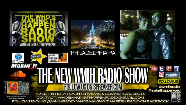 Philadelphia PA's own radio personality/host Mr & Mrs Make It Happen 215 bringing inside exclusive music news and indie artist and industry updates daily local and international indie mainstream news artist lectures interviews music contest opportunities and much more. Contact us for music spins drops commercial promo ads interviews at the email below. whosmakingithappenradio@gmail.com Follow us on IG @wmihradio use #makingithappenwed #mihwed #wmihradio Follow @dealmgt on Twitte...