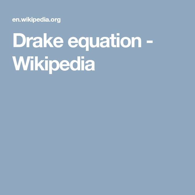 Drake equation - Wikipedia