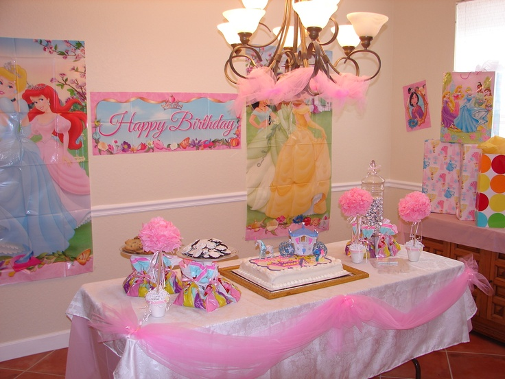 princess party cake table decorations