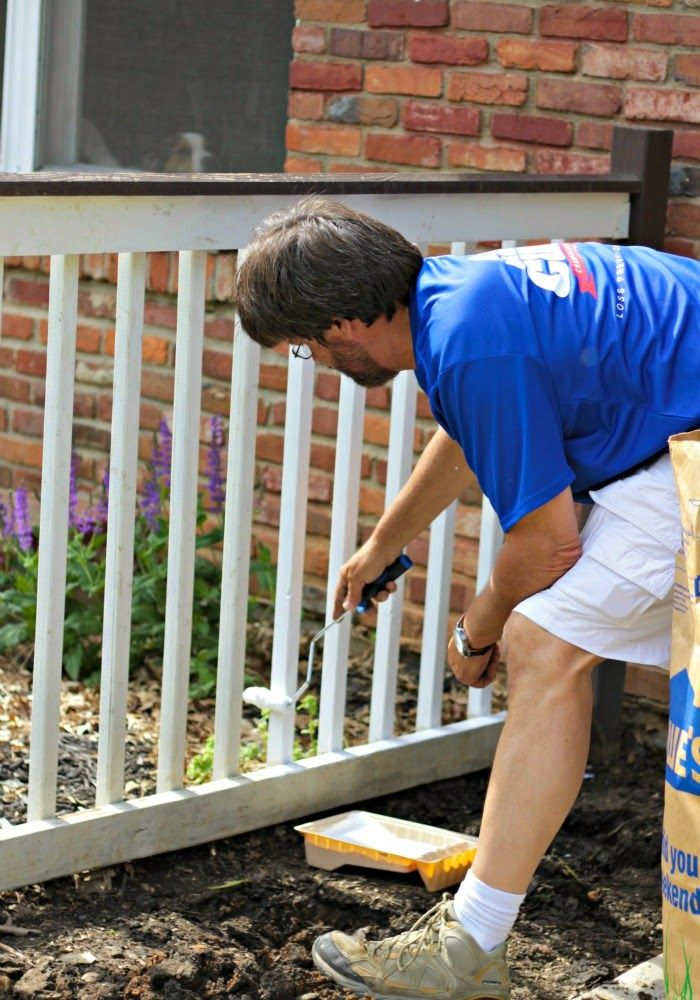 Use a roller to paint railings. If you bend the mini-roller to a 45 degree angle it makes painting the rails a breeze.