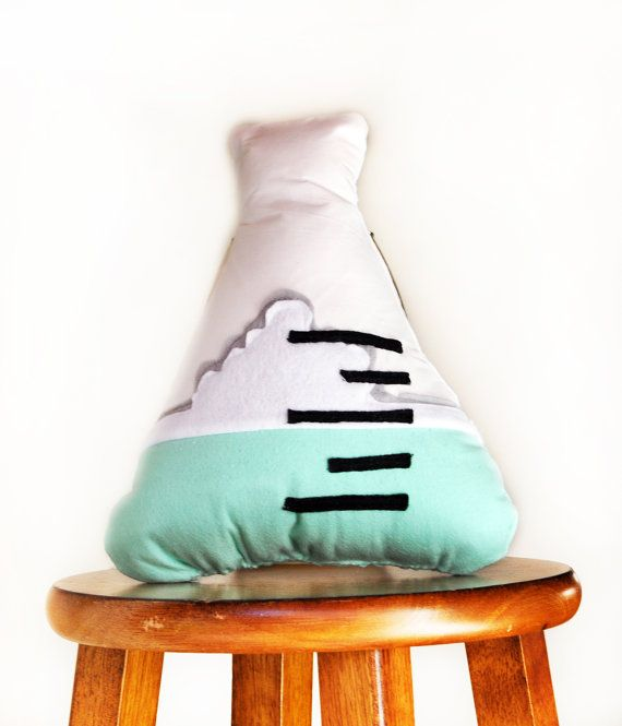 Erlenmeyer flask Pillow for the Nerdy Science Geek in us All - Novelty Pillow for a Gift or for the Laboratory Lovers Home Decor on Etsy, $30.00