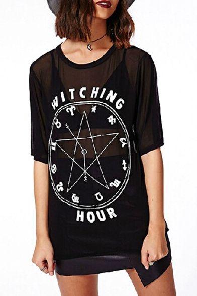 Black 1/2 Sleeve Star Clock Print Mesh T-Shirt