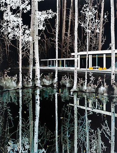 Paul Davies, night forest reflection - acrylic on linen (198 x 150cm)