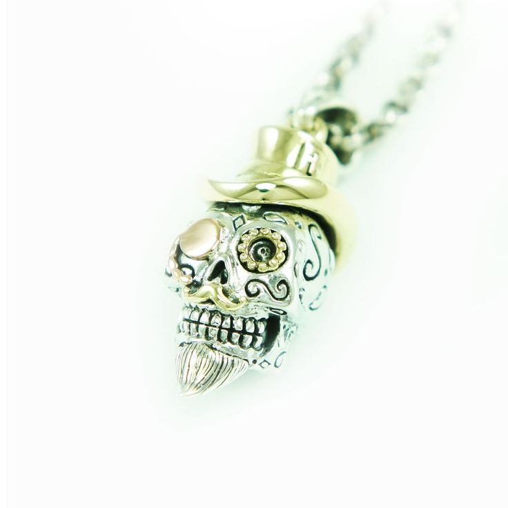DOCTOR SUGAR SKULL 925 STERLING SILVER MEN'S BIKER ROCKER PENDANT gb-170