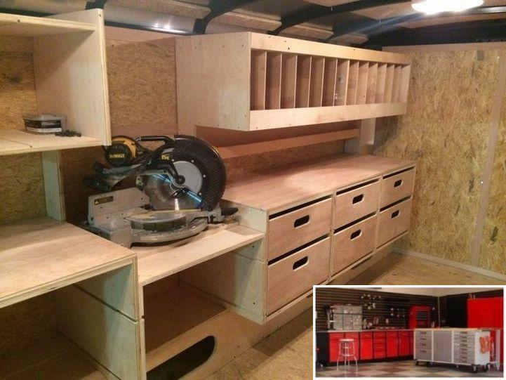Garage Workbench Cabinets And Diy Car Repair Workshop