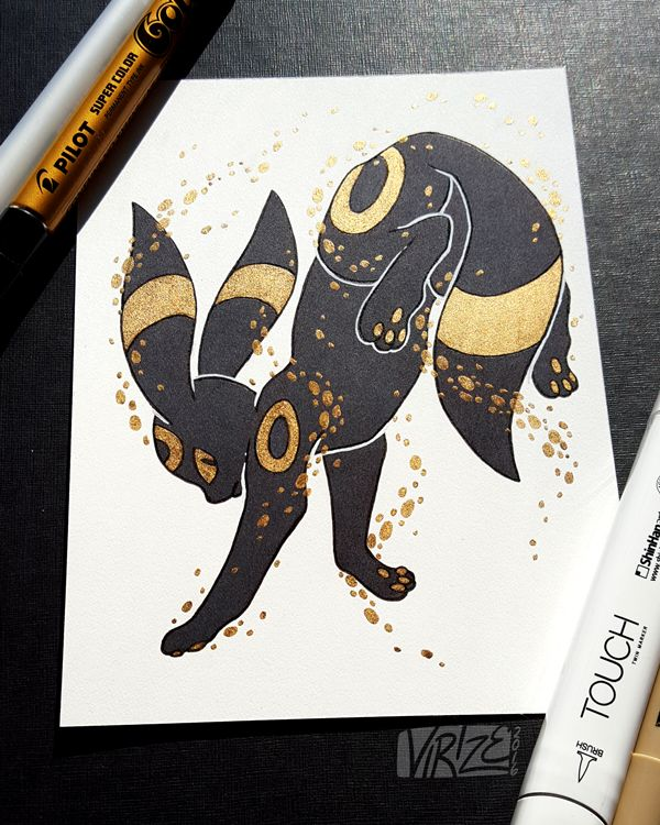 """Gilded Eeveelutions Series: Umbreon "" Umbreon will always be my favourite (`・ω・´)"""