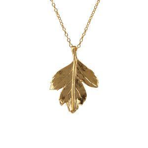 18k Gold Plated Hawthorn Leaf Necklace