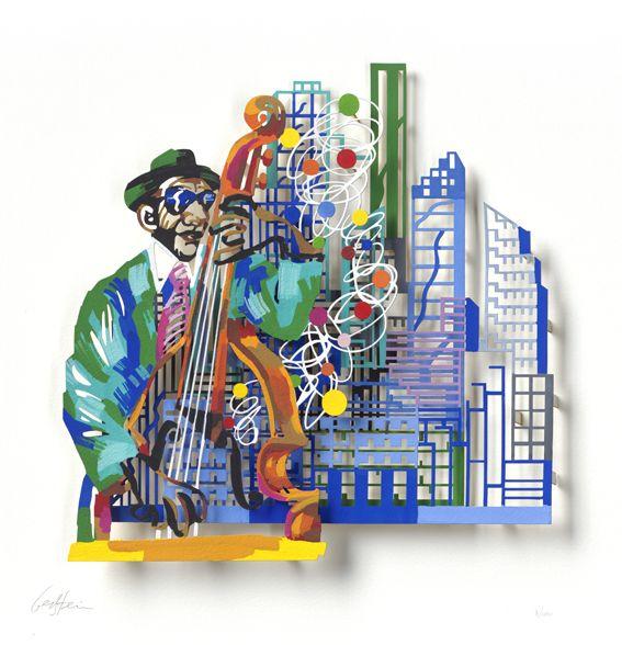 """Contrabass Player #Jazz - 2007, 30"""" x 22"""" in, Paper Cuts By #DavidGerstein - #HorizonArts #Miami #ArtGallery #Wynwood #Urban #Jazzandthecity http://www.davidgerstein.us/portfolio/contrabass-player/"""
