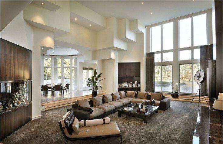 salon marron beige, meubles gris, table basse en marron et tapis gris taupe