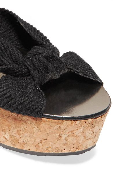 Jimmy Choo - Norah Knotted Canvas Wedge Sandals - Black - IT35.5