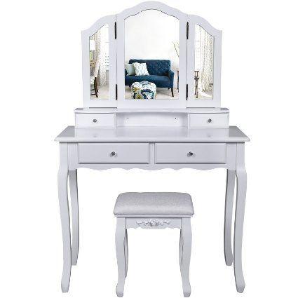 Songmics grande coiffeuse table de maquillage avec 3 miroir, 4 tiroirs, séparations pour tiroirs et tabouret,fixée au mur, style champêtre RDT07W