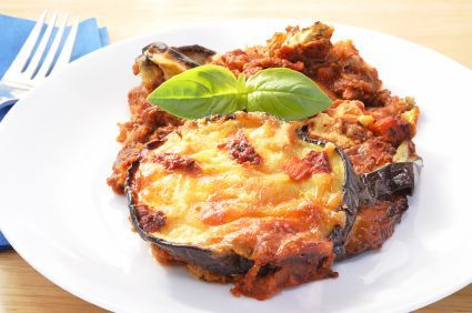 Eggplant Napoleon - This recipe was inspired by moussaka, eggplant Parmesan and lasagna. The result is a light and tasty meatless meal.