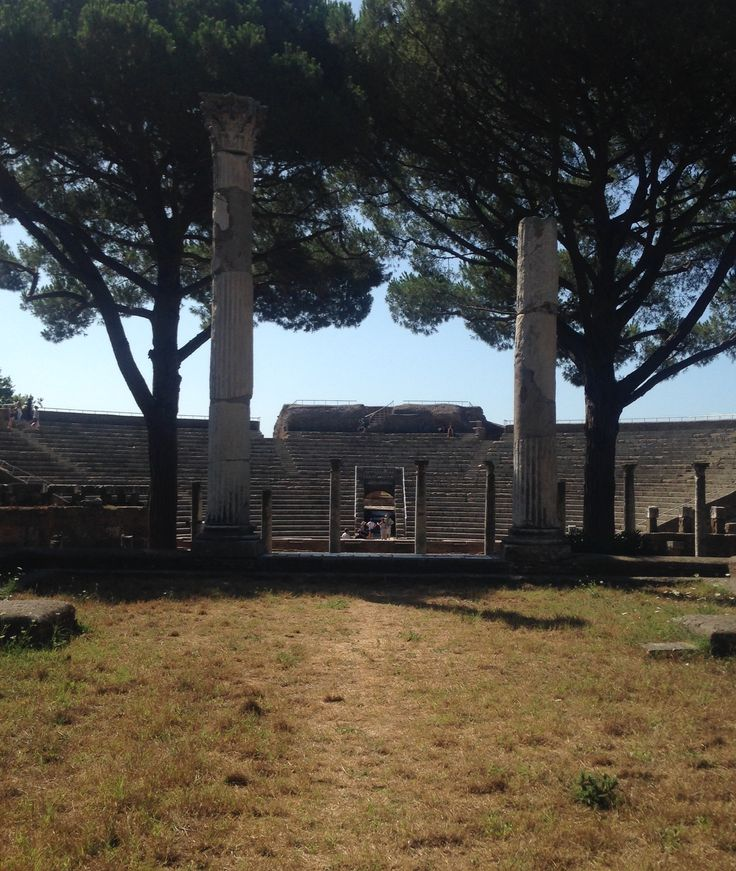 View of old market square and amphitheater at Ostia Antica, day 4.