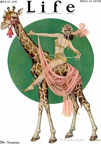 Love this color scheme. Might use this in our new house.  Riding a giraffe, like ya do. 1920s Life Magazine