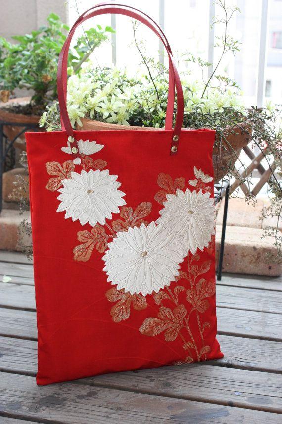 Obi / Kimono / Bag / RD573 Beautiful Kiku by RummyHandmade on Etsy, $55.00