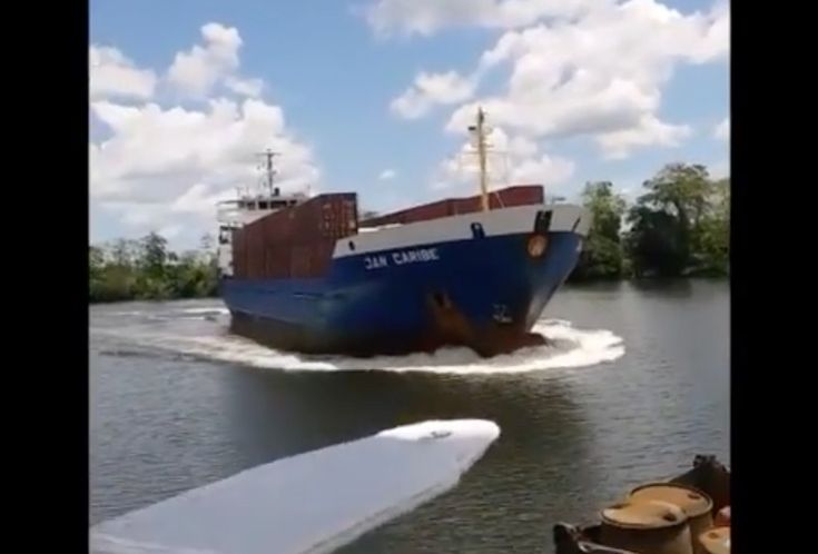 The Nicaraguan Navy confirmed the incident occurred Tuesday morning on Nicaragua's Escondido River approximately25 miles east of El Rama. All 4o passengers and crew members of the Captain D were rescued before the ship sank a few hours of the crash, the Navy said. https://gcaptain.com/cargo-ship-jan-caribe-collision-video/