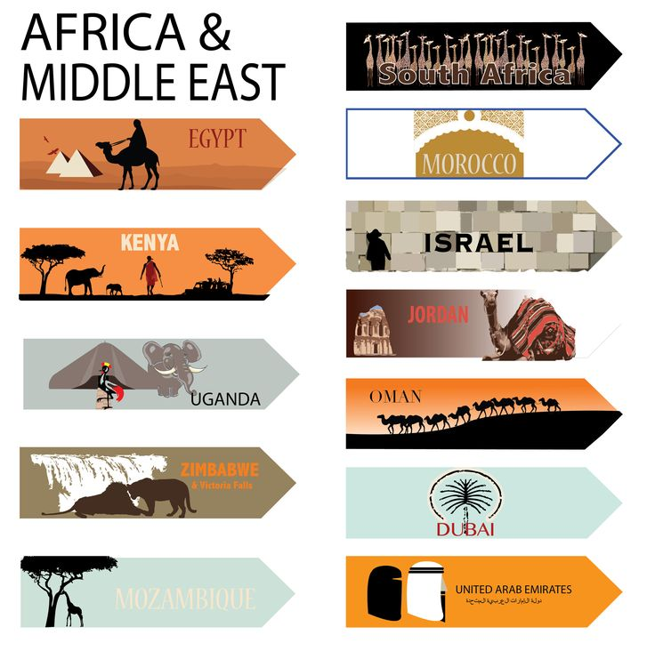 Stickers for travel signs of Africa and Middle East destinations | hardtofind.
