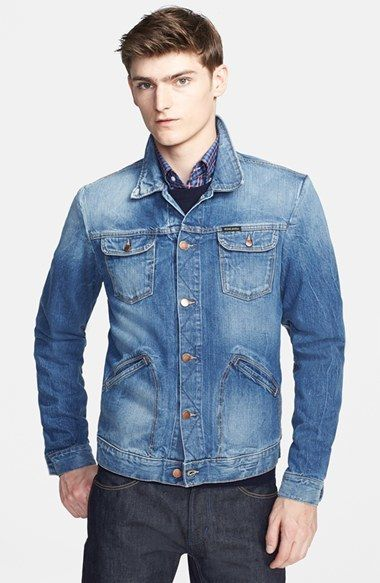 $445, Michael Bastian Michl Bastian Washed Denim Jacket. Sold by Nordstrom. Click for more info: https://lookastic.com/men/shop_items/82298/redirect