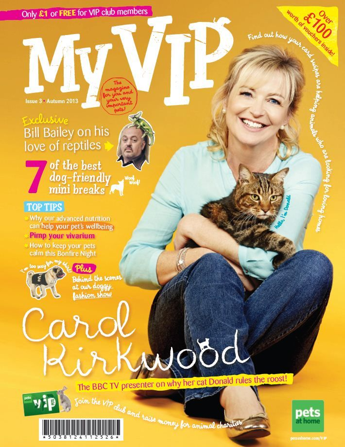 Carol Kirkwood tells us how Donald the cat rules the roost at her home in Issue 3 of My VIP Magazine.  To become a VIP Member, visit www.petsathome.com/vip