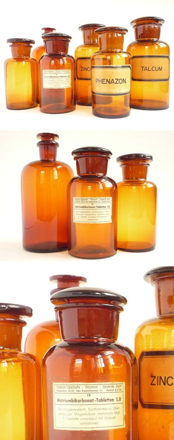 """Nothing but apothecary bottles for sale here...CrolAndco @ Etsy.com :: 7""""h x 1-1.8""""dia bottles...some bigger, some smaller, some alot bigger. Various styles, labels & pricing from 17 bucks up to 100. 