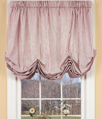 country curtains ticking stripes balloon curtain in cranberry - perfect for my kitchen