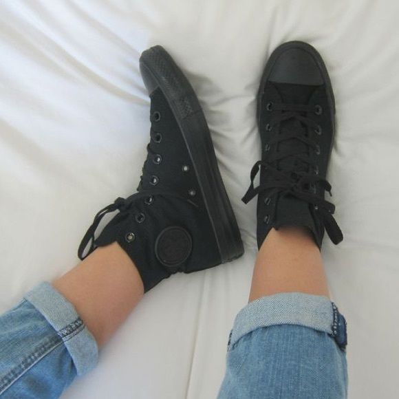 All black high top converse Never worn Converse Shoes Sneakers